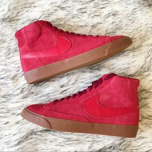 SALE Nike Blazer Mid By You Custom Red Shoes suede